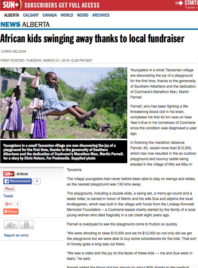 Article in the Calgary Sun about the Playground- Boma Africa