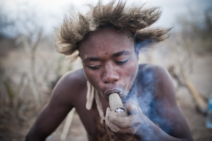 Smoking is a ritual and part of daily life for the Hadzabe Photo by Andrew Knapp